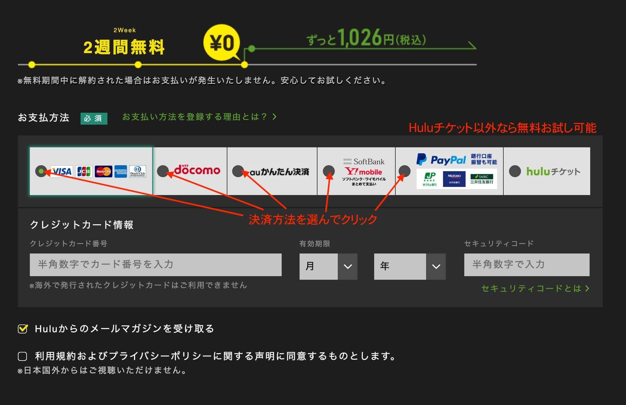 Huluの支払い方法選択画面