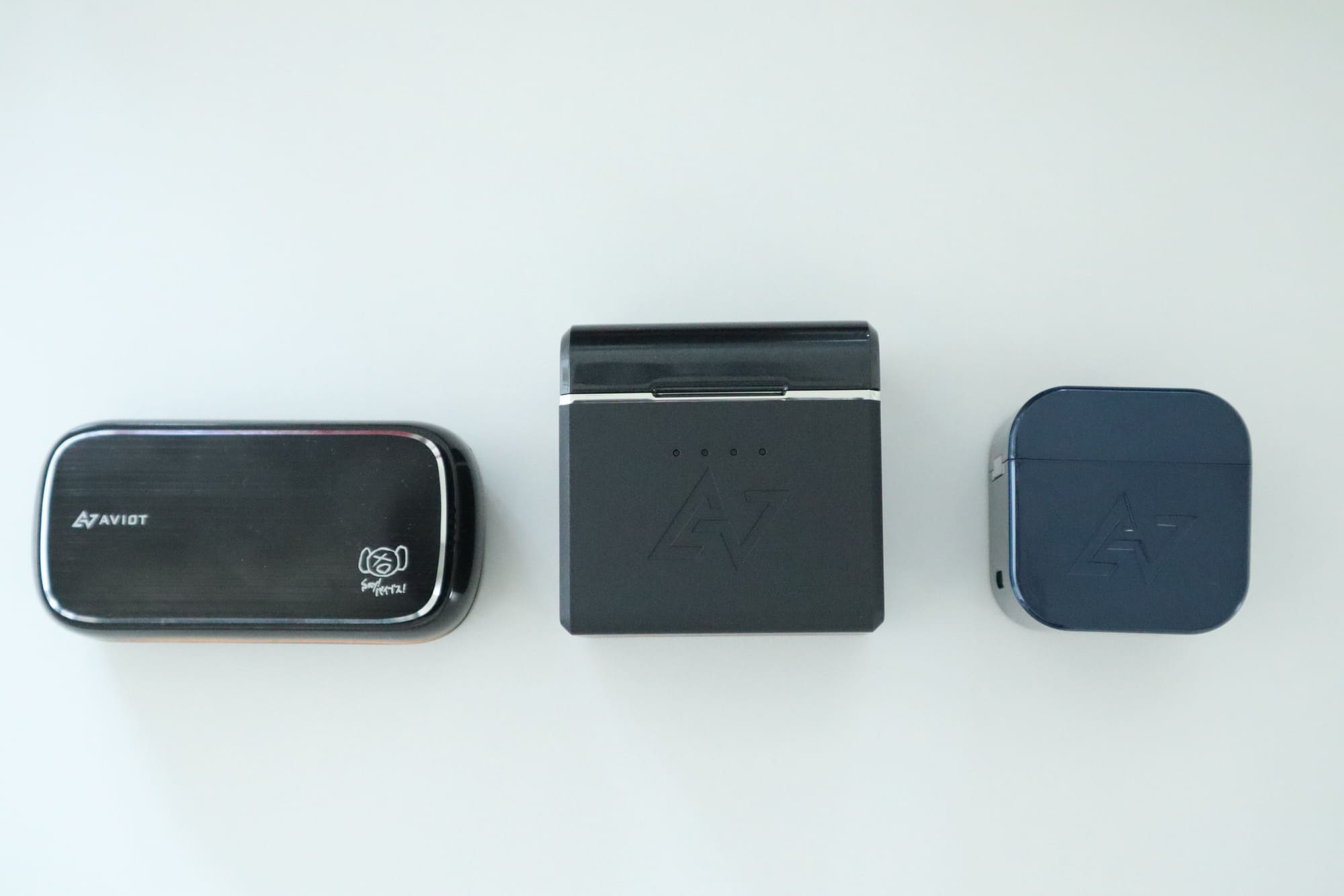 TE-D01gとTE-BD21f-pnk(ピヤホン)とTE-D01d mk2のケースの大きさ比較
