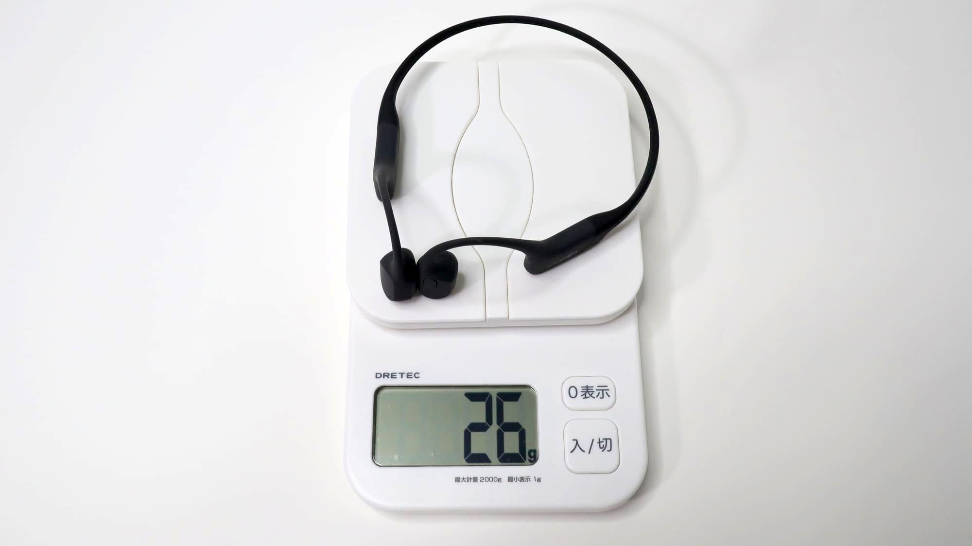 AfterShokz 骨伝導ワイヤレスヘッドホン テレビ用の重さは26g