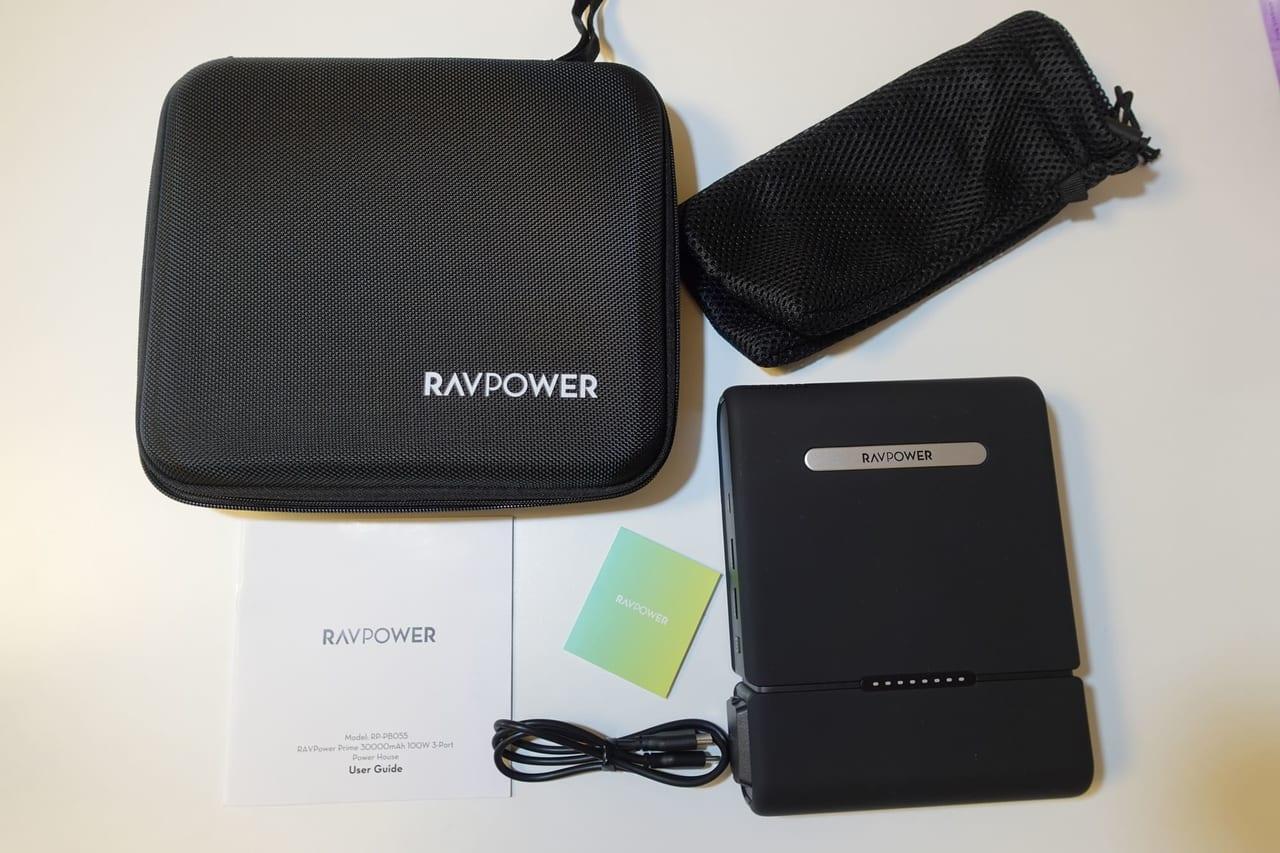 RAVPower 3000mAhポータブル電源の同梱品