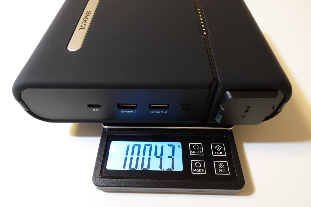 RAVPower 3000mAhポータブル電源の重量